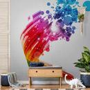 Metallic Tapete Silber Rainbow Wave and Bubbles