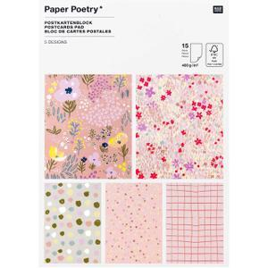 Paper Poetry Postkartenblock Crafted Nature rosa 15 Stück